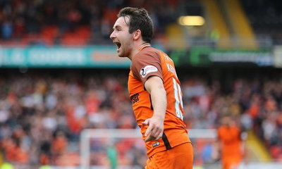 James Keatings celebrating his goal v Morton