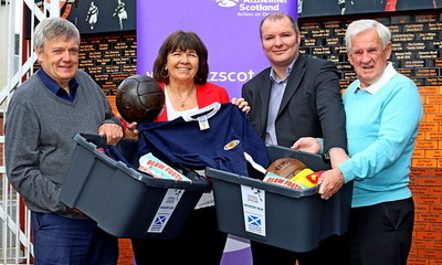 Our picture shows, left to right, Michael White (Football Memories Scotland Project Training Co-ordinator), Amanda Kopel, Richard McBrearty (Football Memories Scotland Director) and Gordon Wallace.