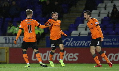 Billy King celebrates his goal