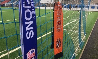 MONTROSE AND UNITED SCARF ON GOAL NET