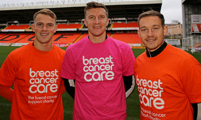 Sam Wardrop, Paul Watson and Peter Pawlett promote breast cancer awareness