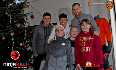 Lewis Fraser, Achie Meekison and Club captain Mark Reynolds with some of our JT Christmas Party guests