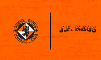 Graphic featuring JF Kegs and Dundee United logo