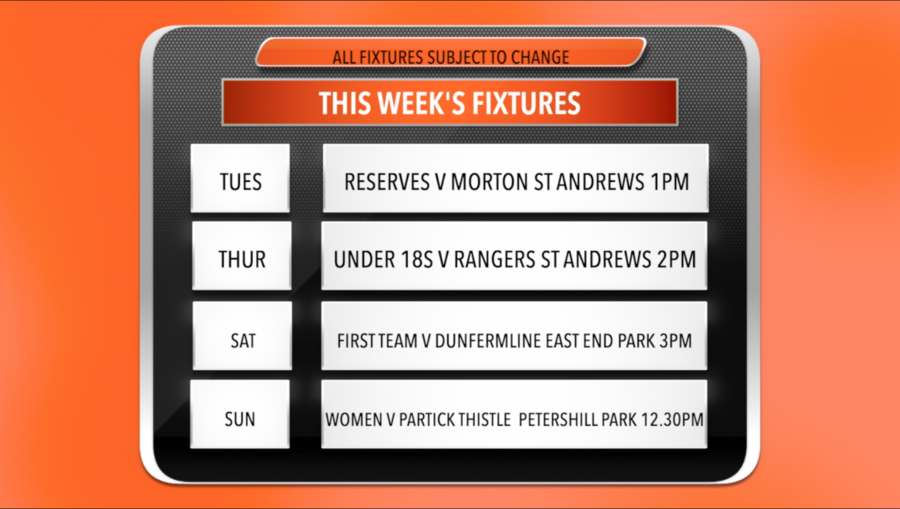 screenshot showing times and dates for fixtures